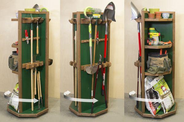 Projet - Étagère pivotante pour outils de jardin