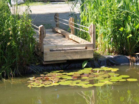 Quai décoratif vue de l'étang