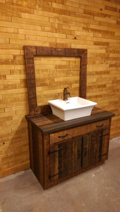 Vanité salle de bain bois grange - Salle de bain