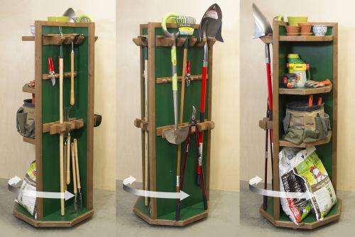 Étagère pivotante pour outils de jardin