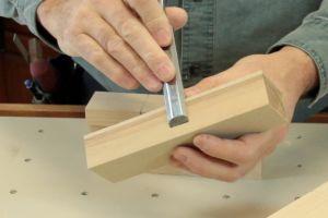 Préparation d'un bloc d'appui perpendiculaire